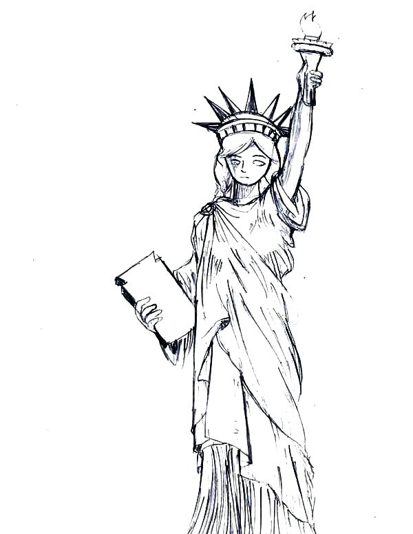 600x776 Statue Of Liberty Coloring Page Pdf United States Pages National