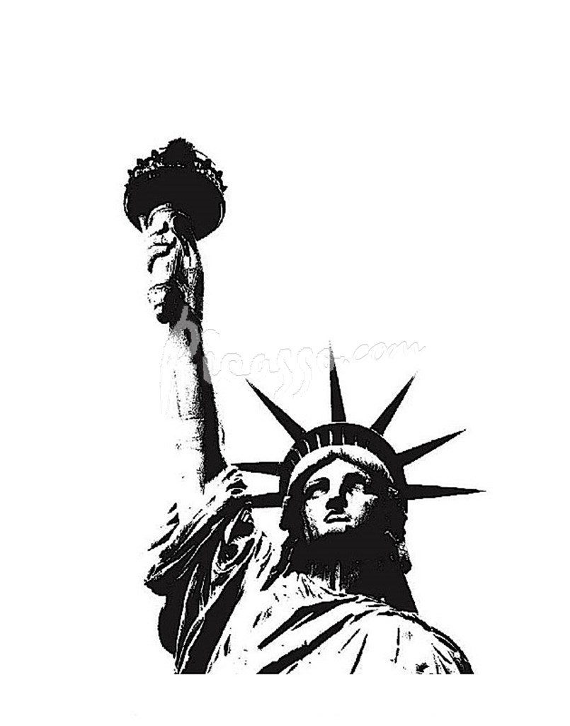 805x1024 Statue Of Liberty (Outline) Fine Art Print By Erin Clark