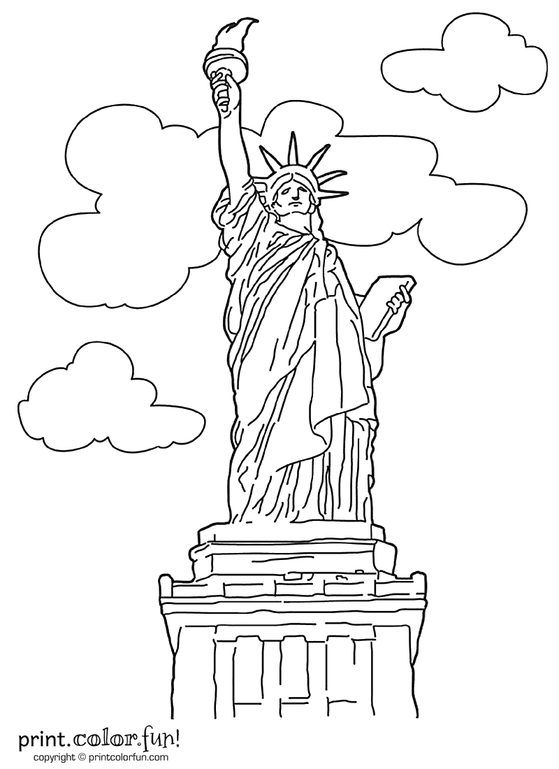 800x1100 Statue Of Liberty Coloring Page