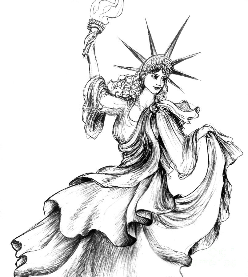 806x900 Dancing Lady Liberty Drawing By Sofia Metal Queen