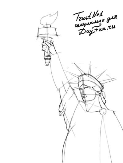 400x533 Drawn Statue Of Liberty Line Drawing