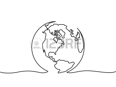 450x337 Continuous Line Drawing. Globe Of The Earth. Map Side Of America
