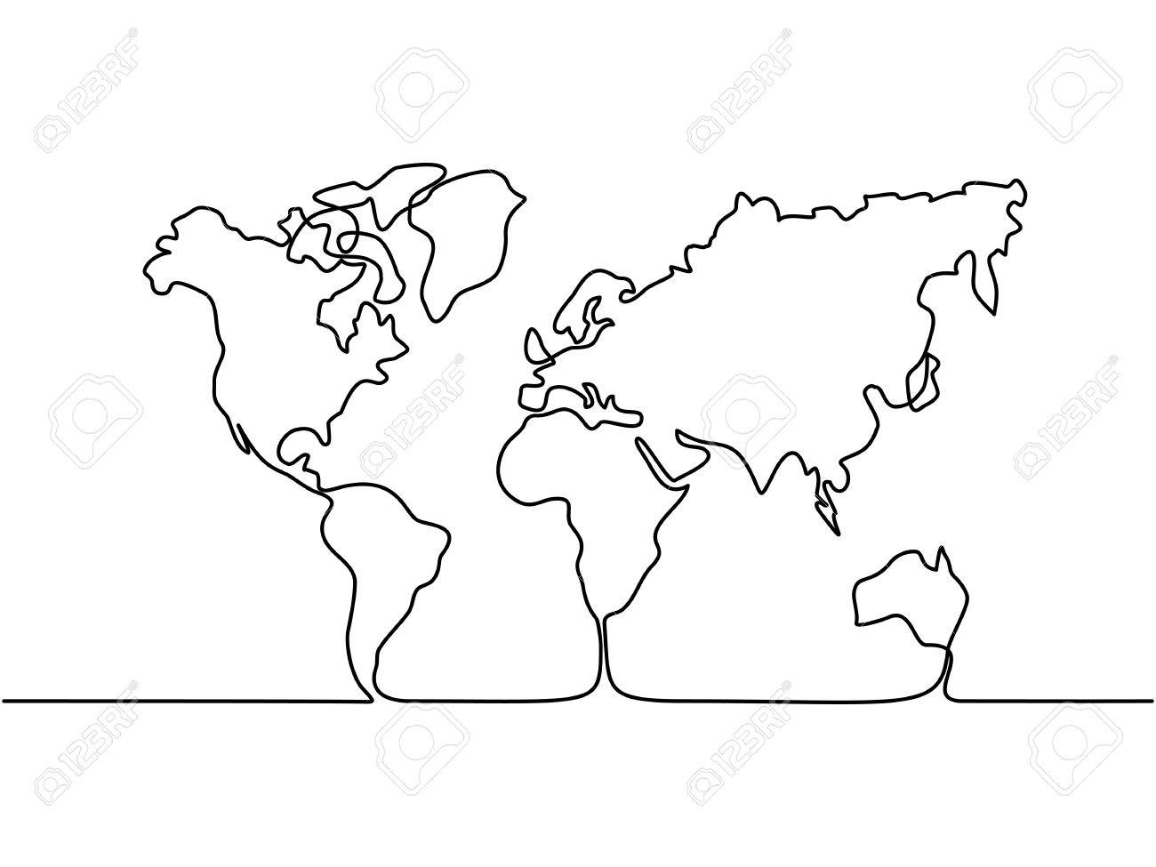 1300x975 Continuous Line Drawing. Map Of The Earth. Vector Illustration