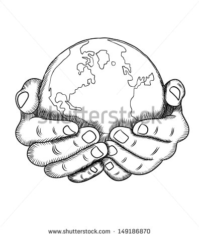 396x470 Hands Holding Earth Drawing Sketch Coloring Page Tats