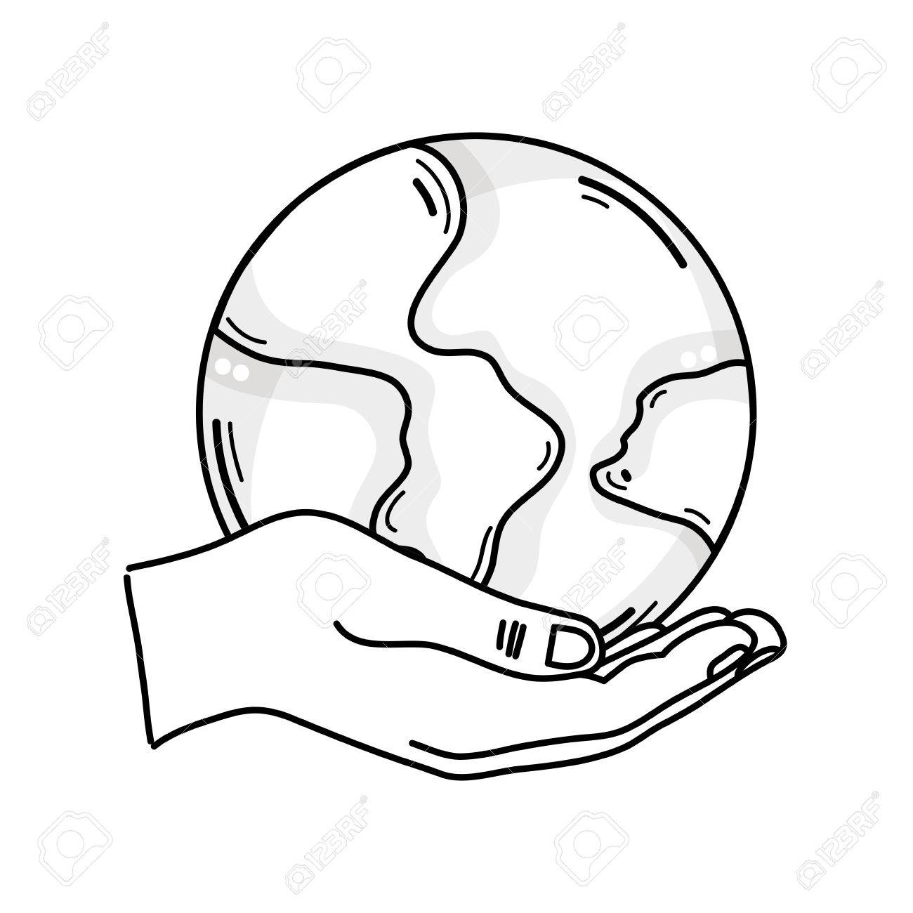 1300x1300 Outline Drawing Of Hand Holding A Global Earth Planet For Love
