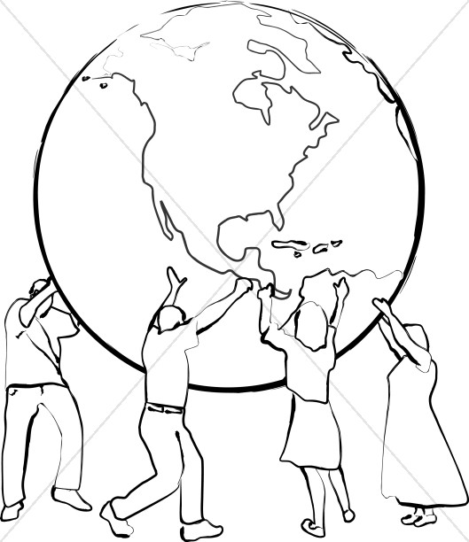 529x612 Supporting The Earth Line Art Peace Clipart
