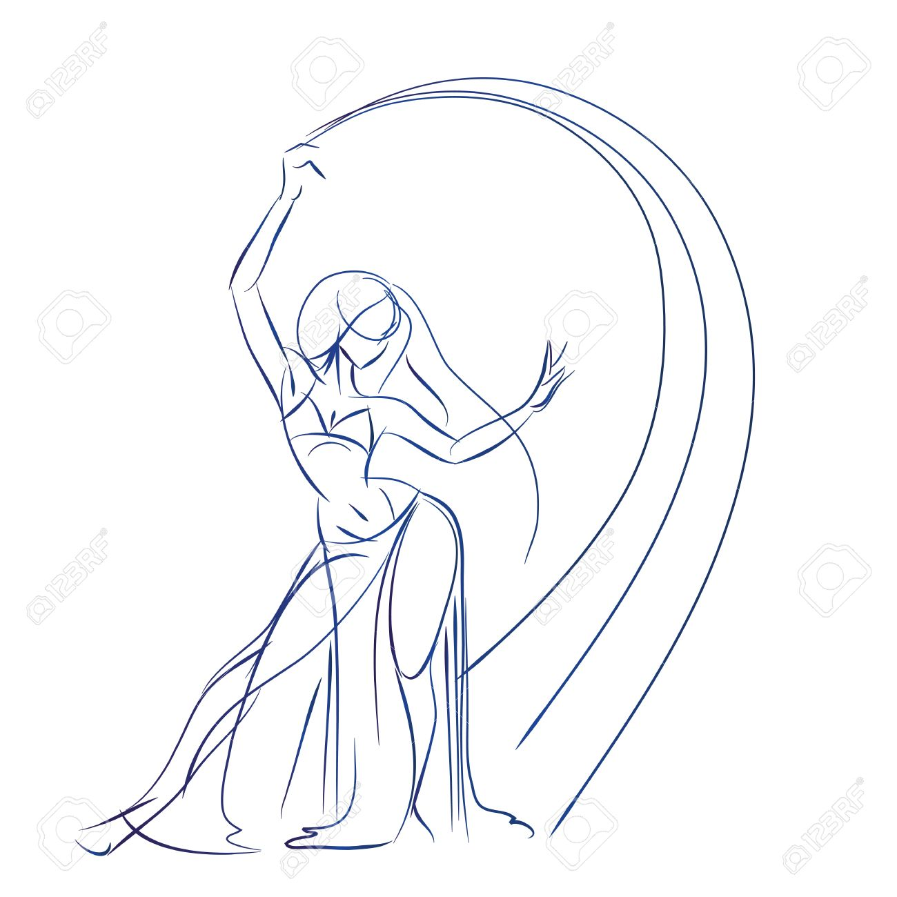 1300x1300 Gesture Sketch Line Drawing Of Belly Dancing Woman Royalty Free