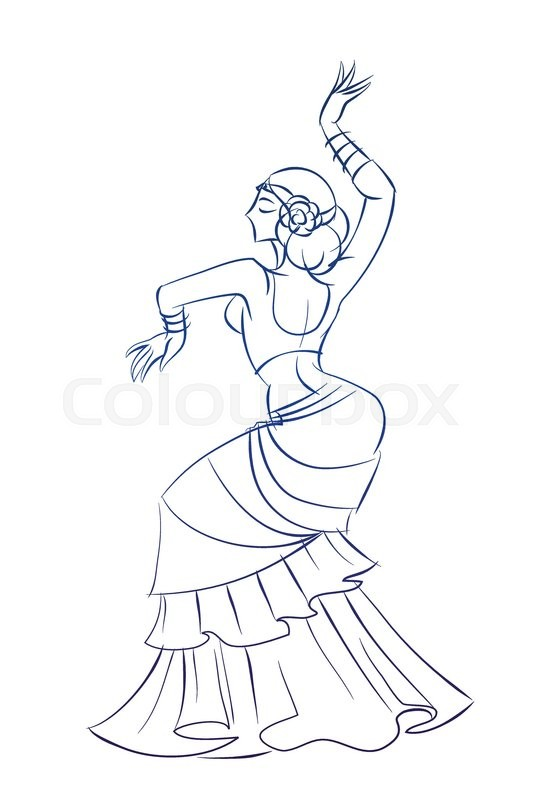 533x800 Gesture Sketch Line Drawing Of Belly Dancing Woman Stock Vector