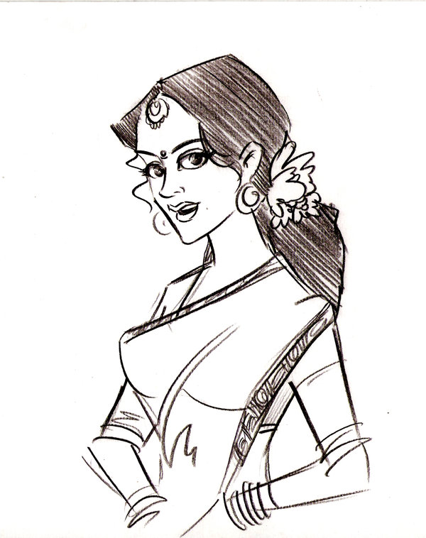 600x758 An Indian Lady By Animatorpradeep