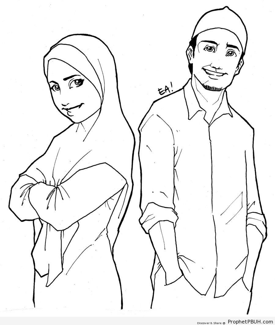 900x1064 Muslim Man And Woman Line Drawing Drawings Prophet Pbuh (Peace