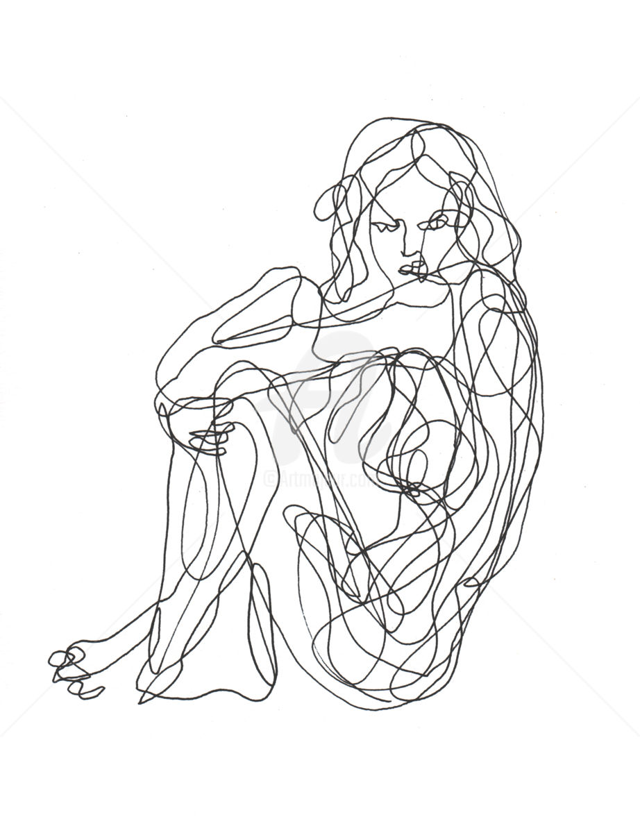 922x1200 One Line Drawing Woman 01 (Cuboism)