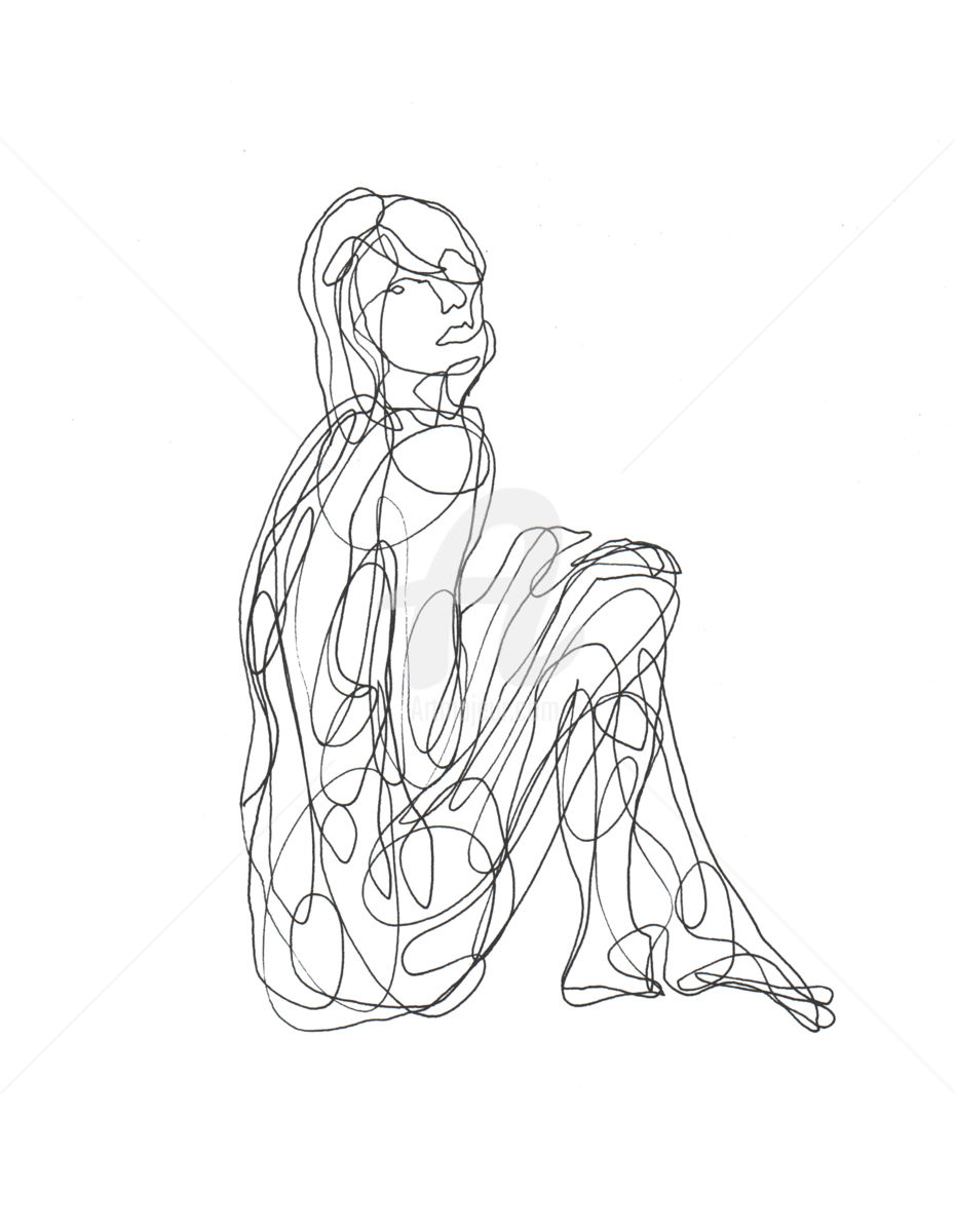 930x1200 One Line Drawing Woman 02 (Cuboism)