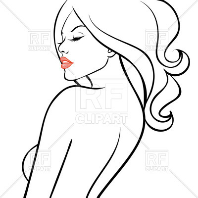 400x400 Outline Of Sexy Woman Royalty Free Vector Clip Art Image