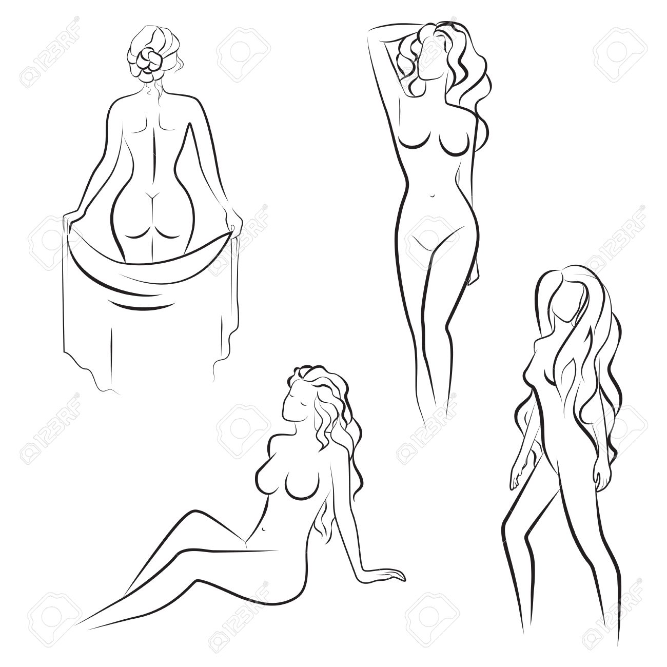 1300x1300 Beautiful Line Drawing Silhouettes Of Nude Woman. Vector