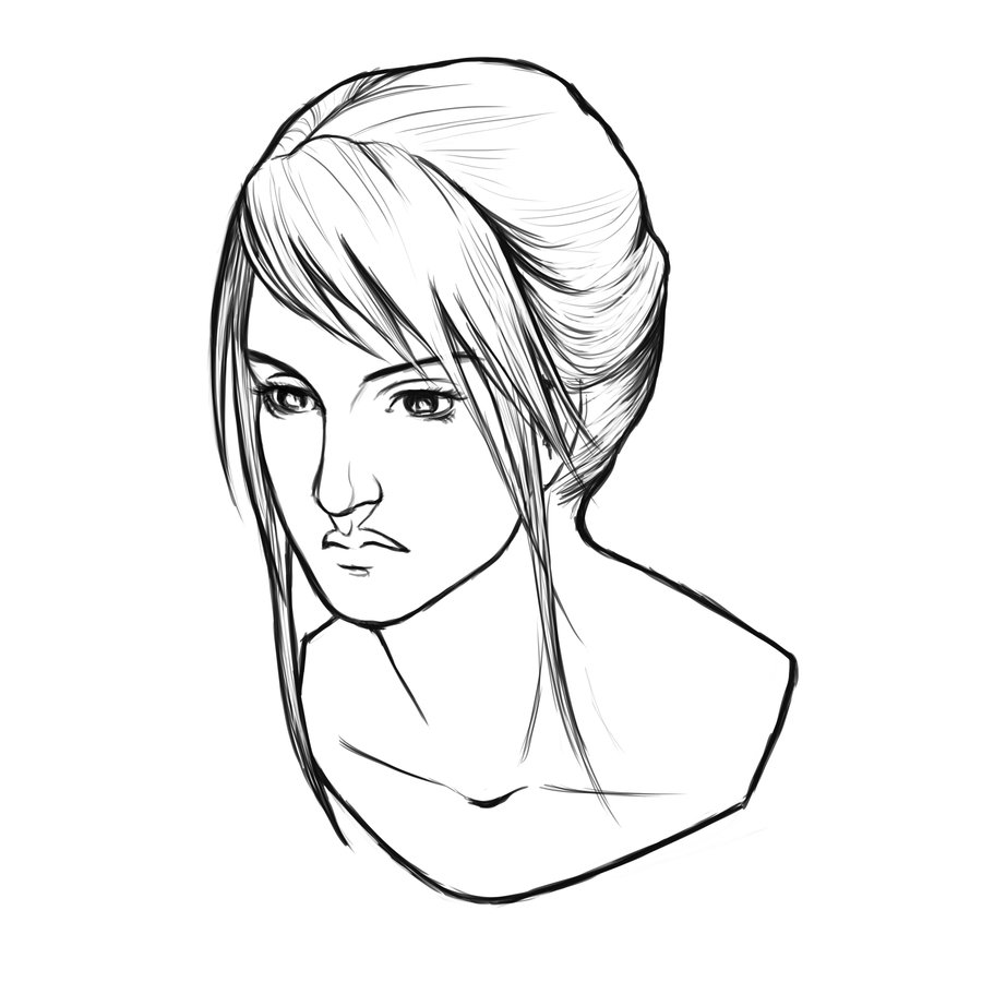 900x900 Woman Portrait Lines By Xeiart