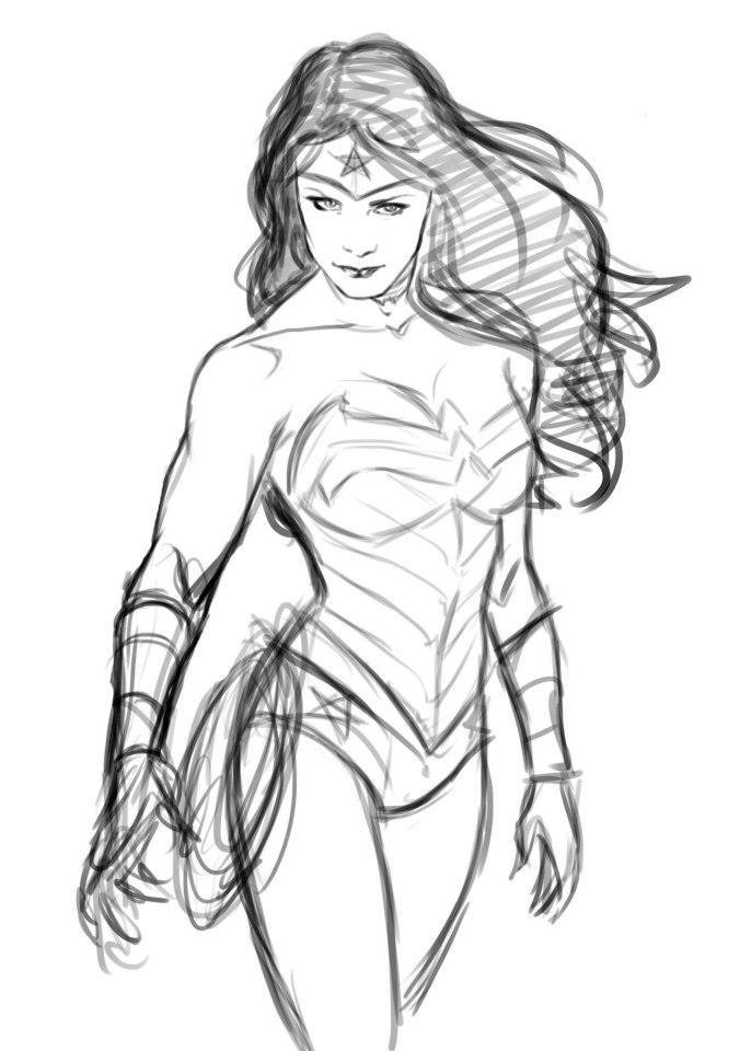 686x960 Wonder Woman Sketch By Gabriel Guzman By Spacegoatproductions