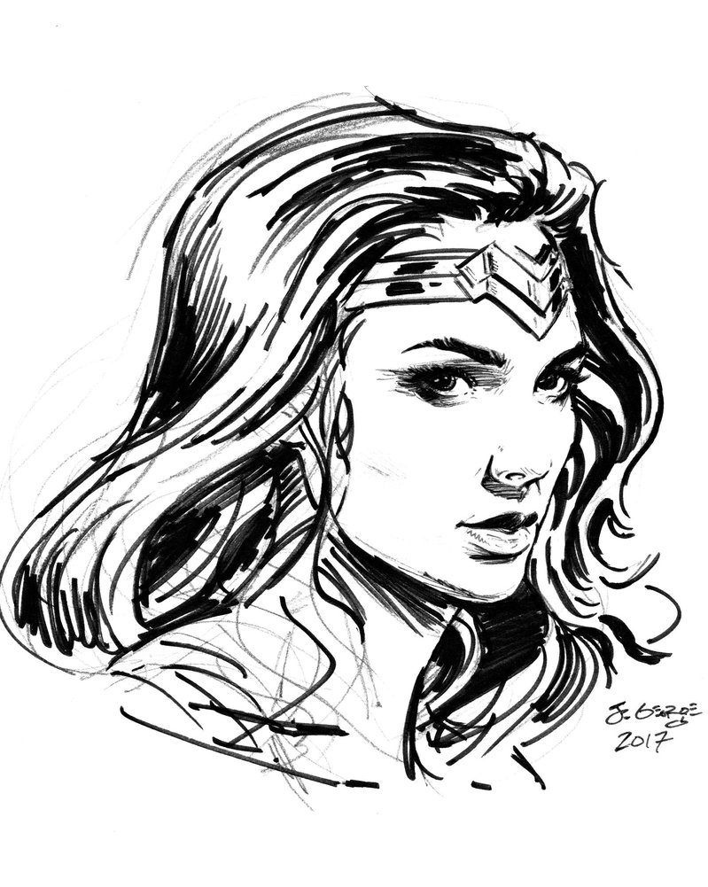 799x1001 Wonder Woman Sketch Portrait By Chickenlegboy