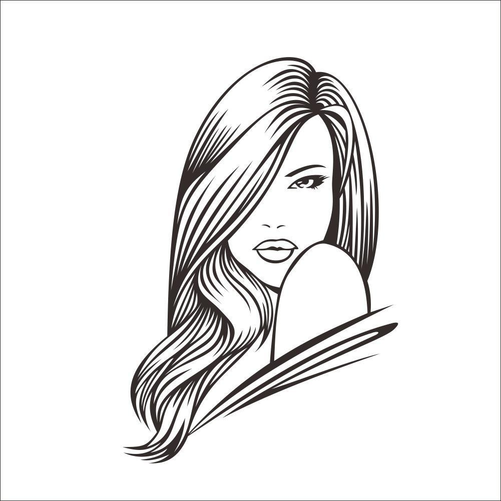 1001x1001 Angelina Jolie Girl With Long Hair Pencil Sketch Line Drawing