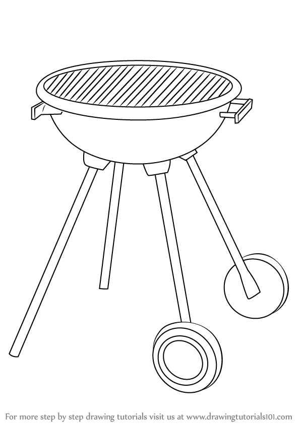597x844 Learn How To Draw A Bbq Grill (Everyday Objects) Step By Step