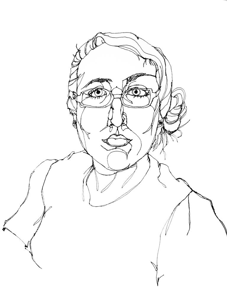 768x1024 Self Portrait Line Drawing Self Portrait, Sharpie Pen, One
