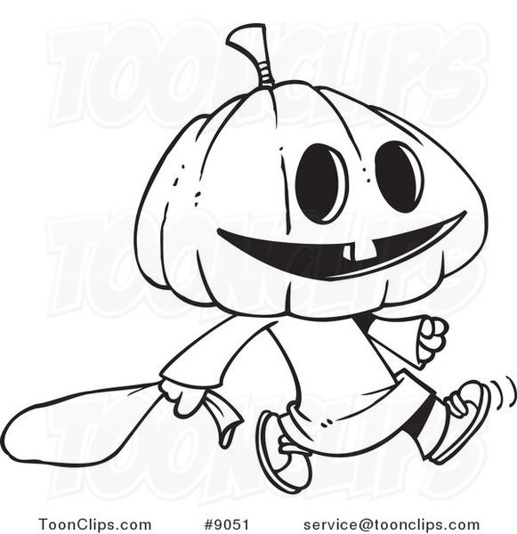 581x600 Cartoon Black And White Line Drawing Of A Pumpkin Head Trick