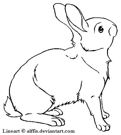 417x464 Free Rabbit Lineart By Alffis
