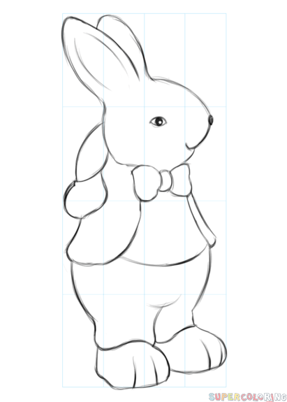 411x575 How To Draw An Easter Bunny Step By Step Drawing Tutorials