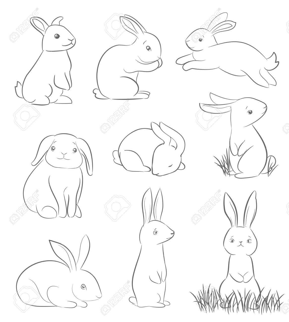 1166x1300 Set Of Cute Cartoon Rabbits. Line Art Vector Drawing Royalty Free