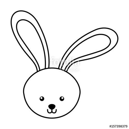 500x500 Cute Line Icon Rabbit Face Cartoon Graphic Design Stock Image