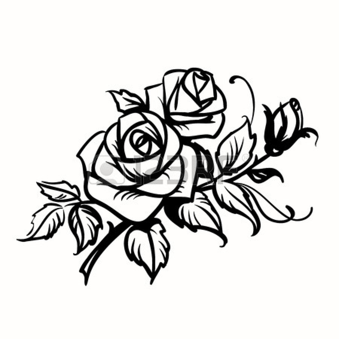 1350x1350 Rose Line Drawing Clip Art Knumathise Rose Clip Art Outline Images