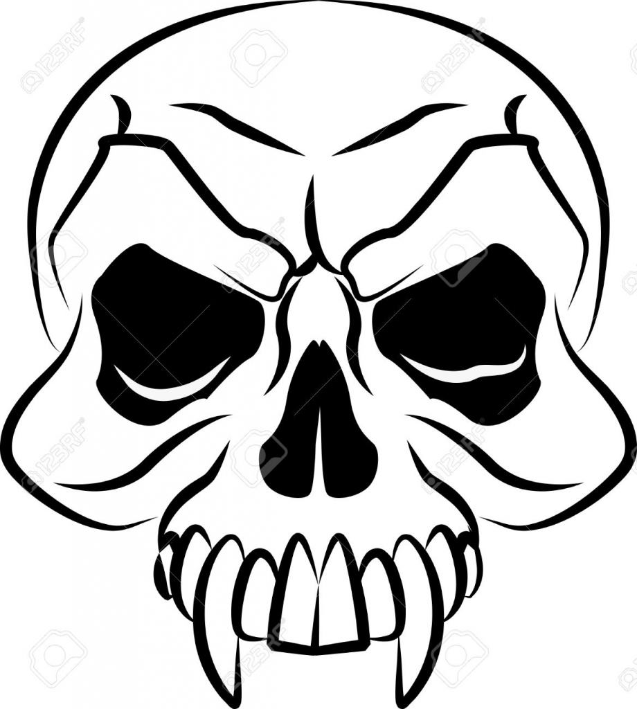 920x1024 Scary Skull Drawings Vector Scary Skulls Cliparts Stock Vector