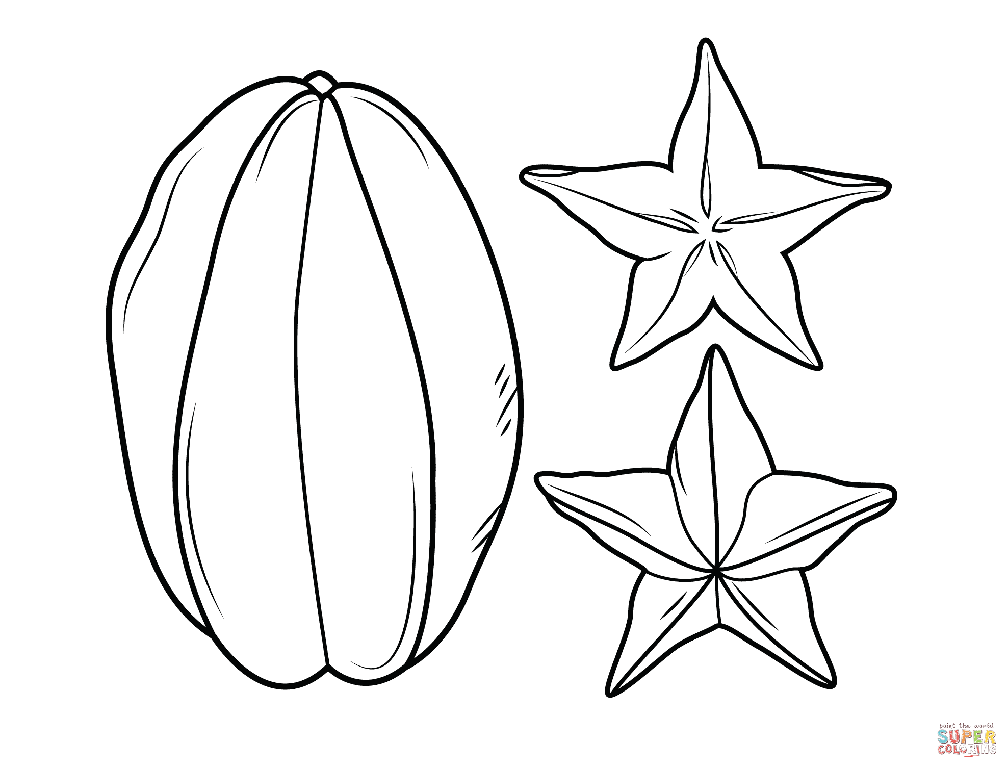 1977x1506 Carambola Or Star Fruit Coloring Page Free Printable Coloring Pages