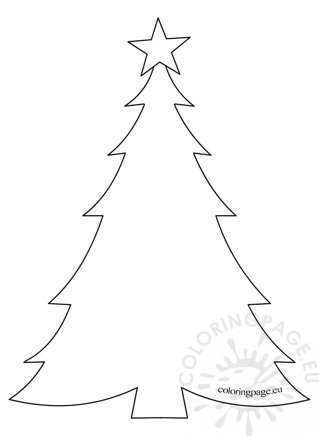 1231x1683 Christmas Tree Drawing Template