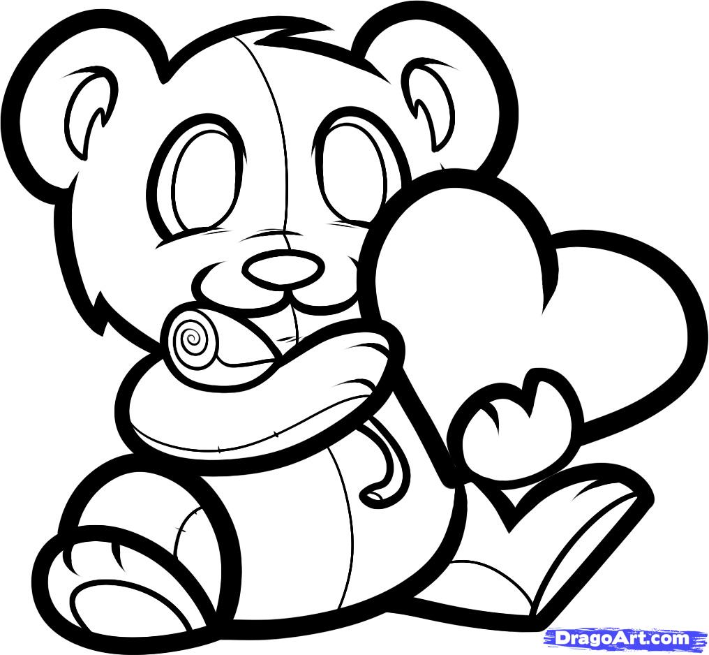 1016x938 How To Draw A Valentines Bear, Valentine Bear, Step By Step