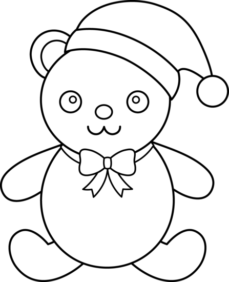 447x550 Christmas Teddy Bear Line Art