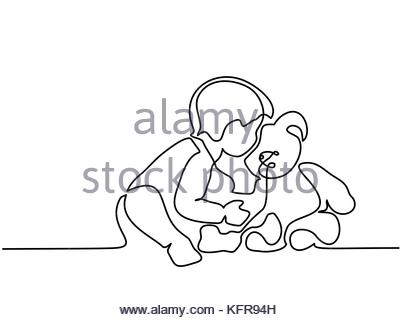 400x320 Continuous Line Drawing. Little Boy Sitting With Teddy Bear On