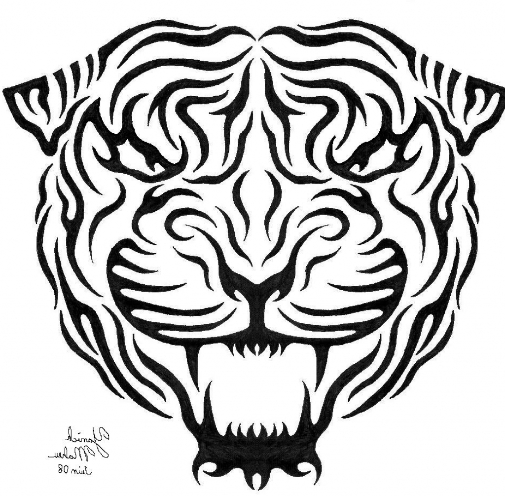 1024x1005 Tiger Face Line Drawing Tribal Tiger Two Drawing Griftercash 2016