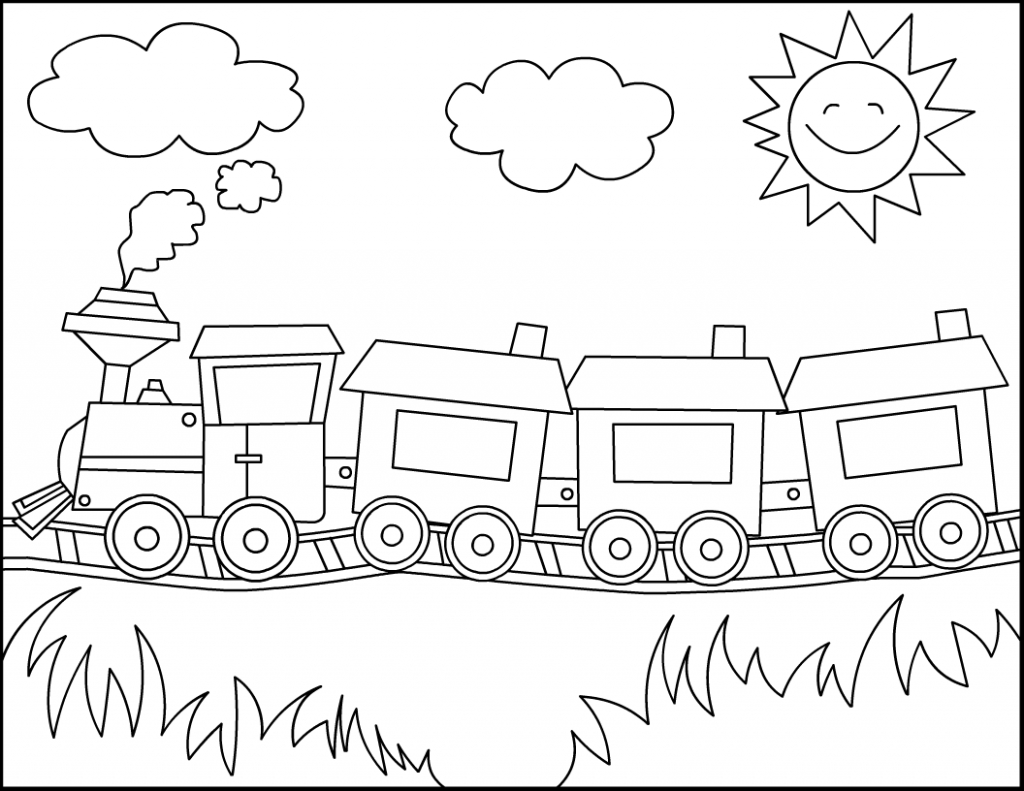 1024x791 Simple Drawing Of Train Thomas Train Coloring Pages Coloring