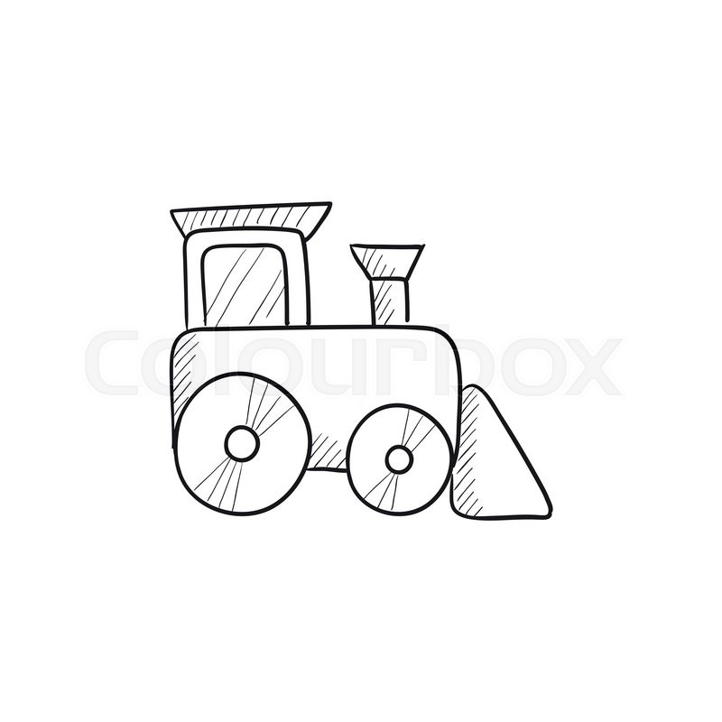 800x800 Toy Train Vector Sketch Icon Isolated On Background. Hand Drawn