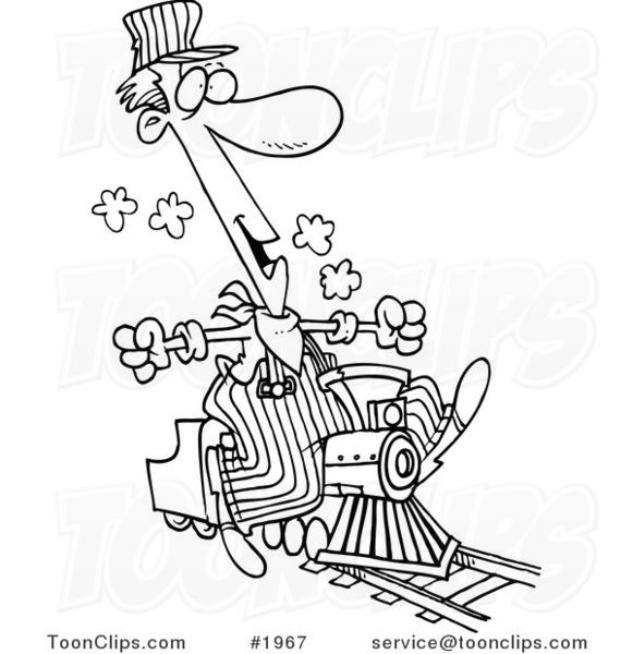 581x600 Cartoon Blacknd White Line Drawing Of Train Engineer Riding