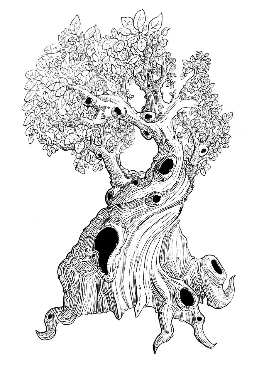 900x1260 Spooky Tree Sketch By Longestne