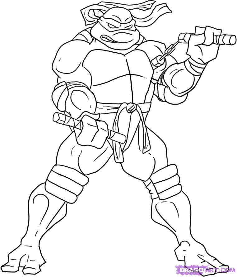 762x889 Coloring Pages Drawing A Ninja Turtle Drawing A Ninja Turtle
