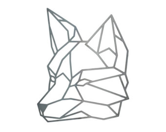 340x270 Geometric Fox, Steel Geometric Fox, Fox Wall Art, Metal Fox, Steel