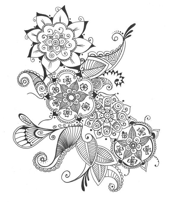 570x683 Items Similar To 8x10 Art Print Bouquet Of Flowers Henna