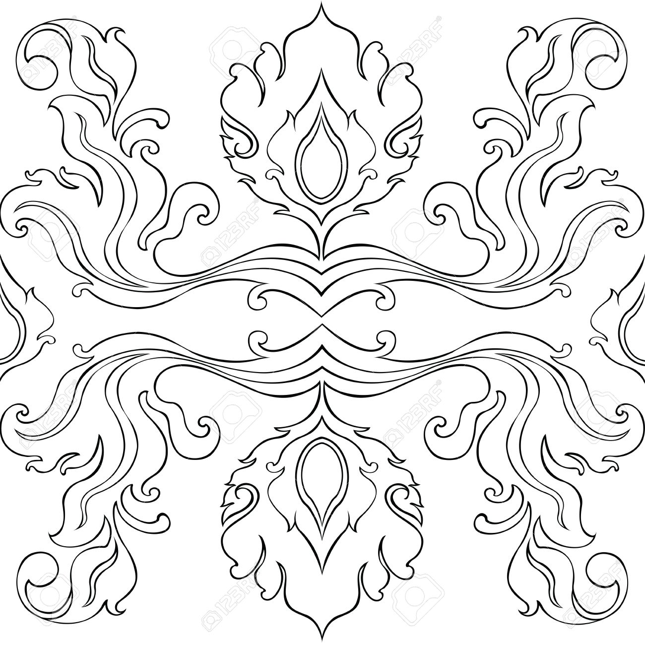 1300x1300 Pattern Flowers And Leave Thai Art Line Graphic Design From Pencil