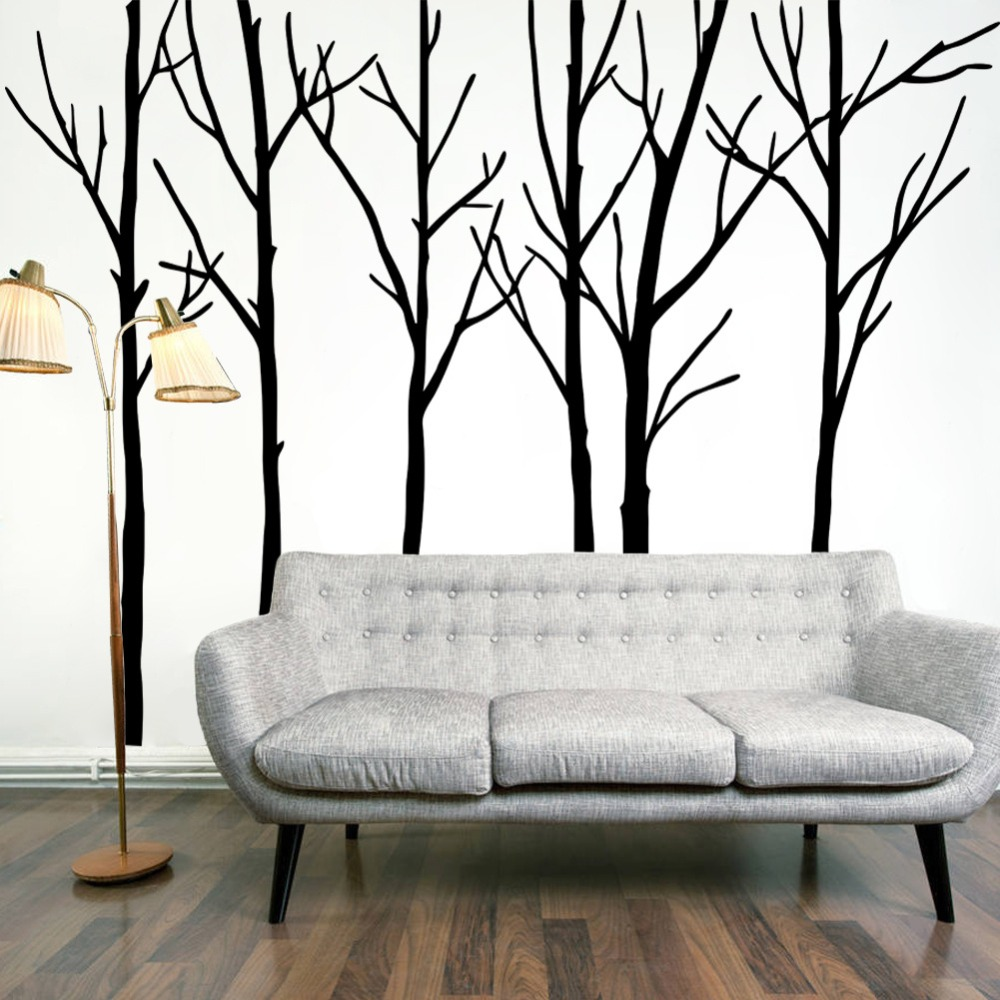 1000x1000 Extra Large Black Tree Branches Wall Art Mural Decor Sticker