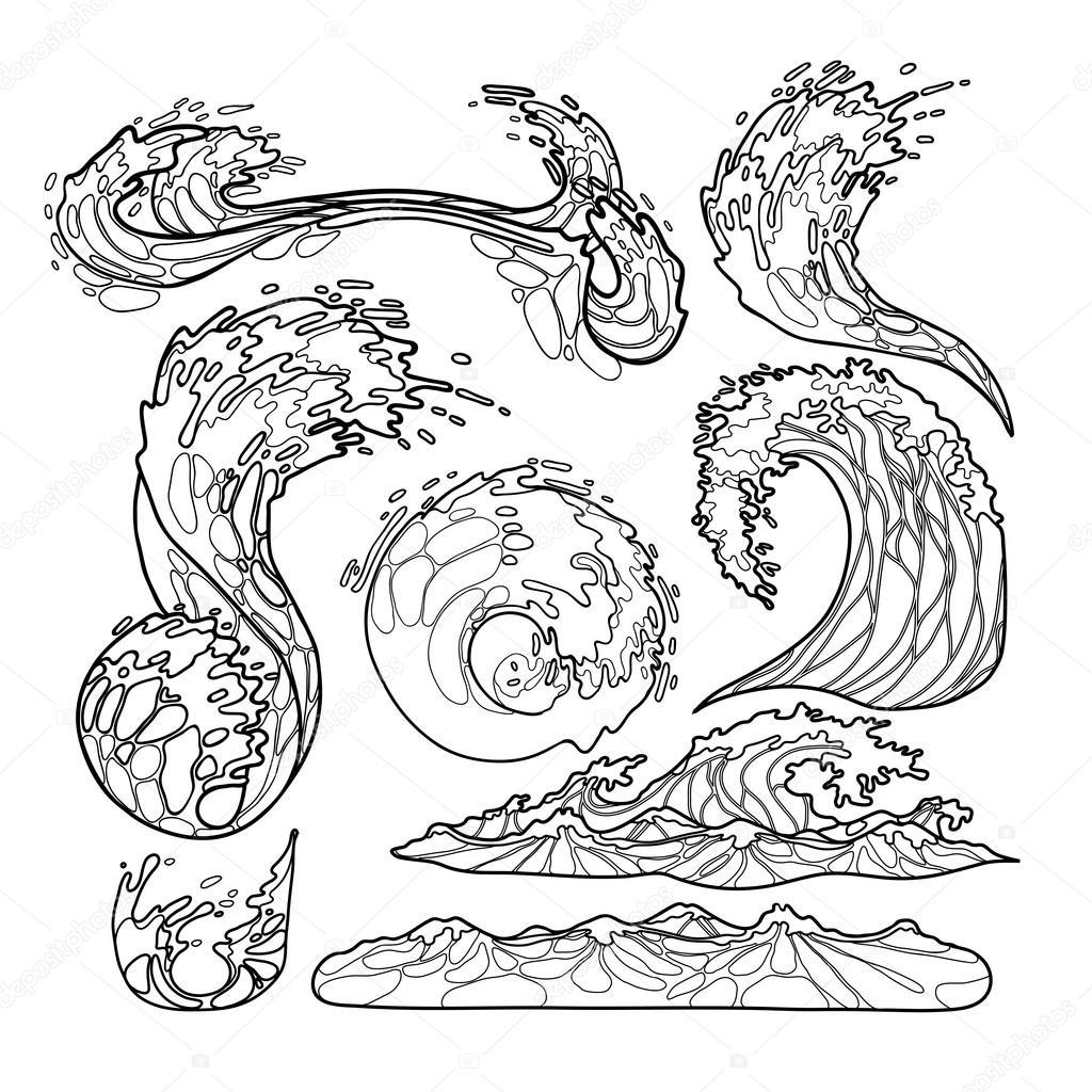 1024x1024 Ocean Waves Collection Stock Vector Homunkulus28