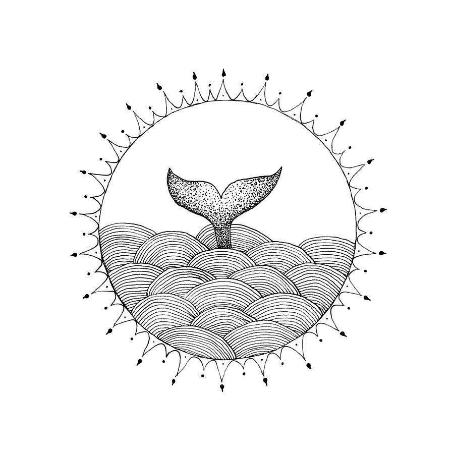 900x900 Whale In Waves Drawing By Konstantin Sevostyanov