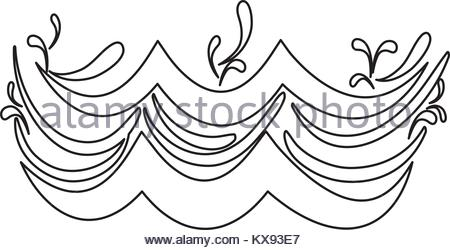 450x250 Line Ocean And Waves Shape With Splashes Stock Vector Art