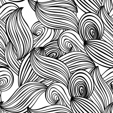470x470 Lines, Waves, Sea, Ocean, Plants, Leaves, Scandinavian Pattern